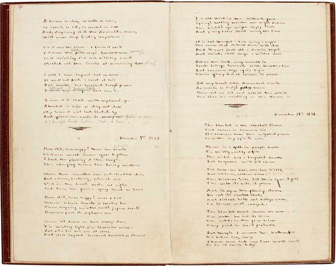 El manuscrito del poemario de Emily Brontë, con correcciones a lápiz de su hermana Charlotte. Foto: Sotheby's