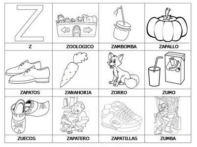 Aprender a leer - primeras palabras - Z