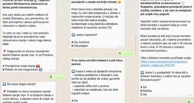 Andrija na WhatsAppu će vam pomoći napraviti samodijagnozu za koronavirus
