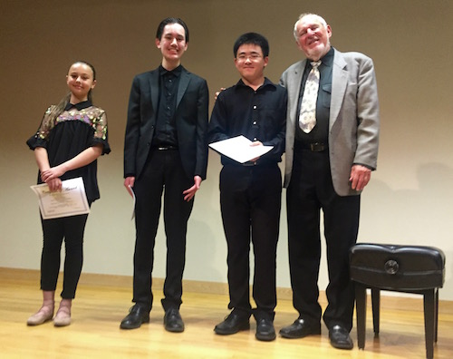 Herbert A. Deutsch, LICA President with the three student winners of the 2017 Arline Diamond Memorial Student Composer's Award: Nellie Nikolava, age 11, Peter Giulio Mainetti, age 15 and David Jung, age 17 The awards were presented on June 16 at the Long Island Composers Alliance 46th Anniversary Concert at the South Huntington Public Library.