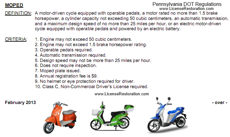 Can I Drive A Moped Or Electric Bike In Pennsylvania License Restoration Services Inc