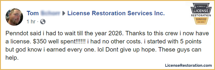 Suspended PA License Restored: Tom S.