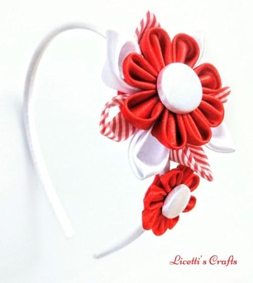Diadema kanzashi en rojo y blanco