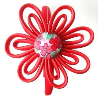 flor kanzashi tiras tela estampada flores