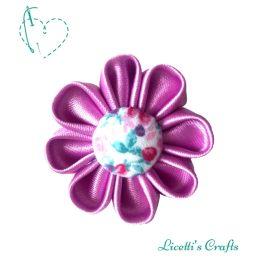 goma cabello lila botón floral