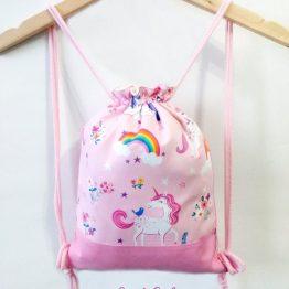 mochila cuerdas hecha a mano unicornio grande rosa