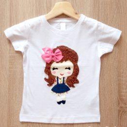 camiseta manga corta hecha a mano lazo rosa