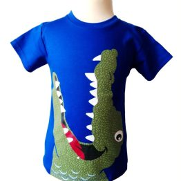 Camiseta cocodrilo azul algodón pima