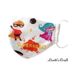 mascarilla reutilizable tela super heroe infantil