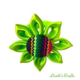 coletero verde fucsia botón etnico hecho a mano
