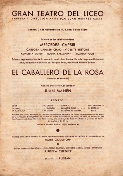 1934 - G. Teatro del Liceo - EL CABALLERO DE LA ROSA