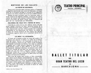 1966 - Teatro Principal de Zaragoza - motivos de los ballets-La noche de walpurgis-tapices de goya-la moza y el estudiante