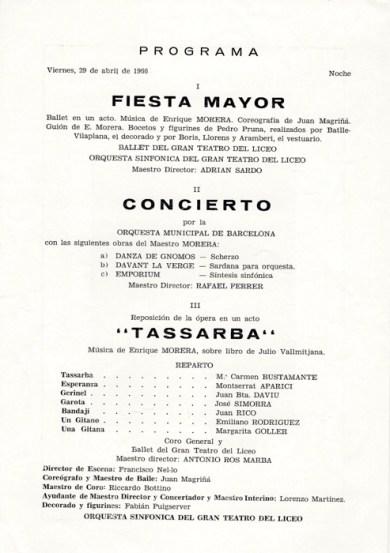 1966 - Gran Teatro del Liceo - Homejaje al Maestro Enrique Morera en su centeneario - fiesta major- Tassarba-