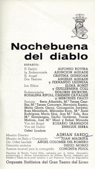 1969 - Gran Teatro del Liceo - Temporada de opera - La noche buena del diablo