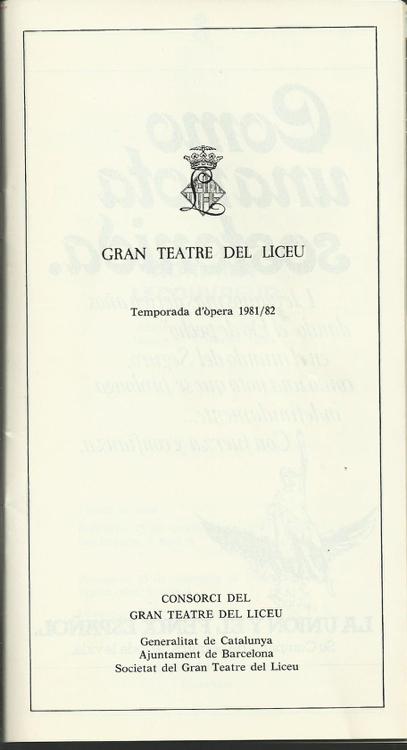 1981- Programa del Liceu Temporada - 1981-82 - ADRIANA LECOUVREUR