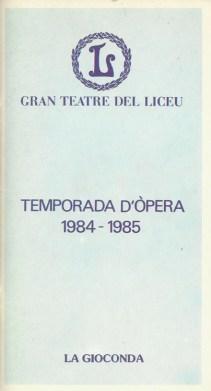 "1984 - ""La Gioconda"" - G. Teatro del Liceo"