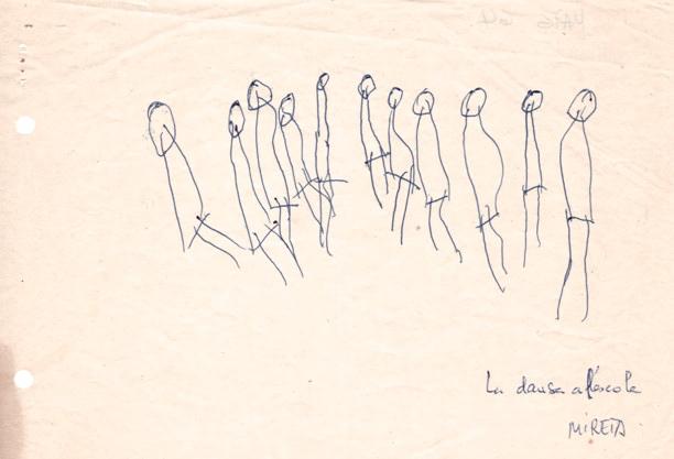 Dibuix Mireia 3 anys. La dansa a l´escola