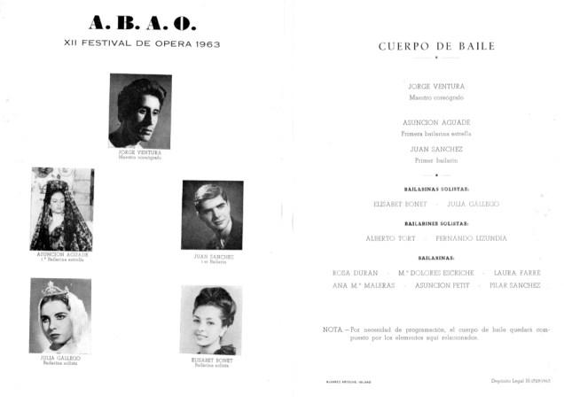 1963-09-03 al 13-Teatro Coliseo Albia-XII festival de opera-ABAO-1-J. Ventura, Asun. Aguade,J. Sanchez, J. Gallego, Elisabeth Bonet, A. Tort, F. Lizundia,Duran, Maleras,Escriche,Petit,Farre,P. Sanchez-pr