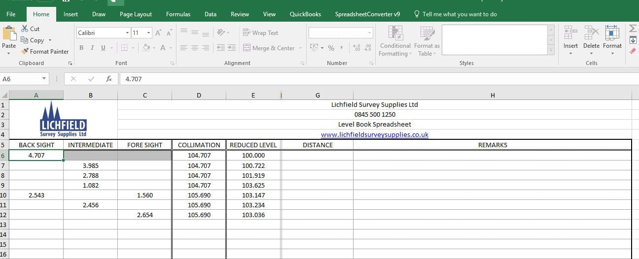 survey level book spreadsheet lichfield survey supplies