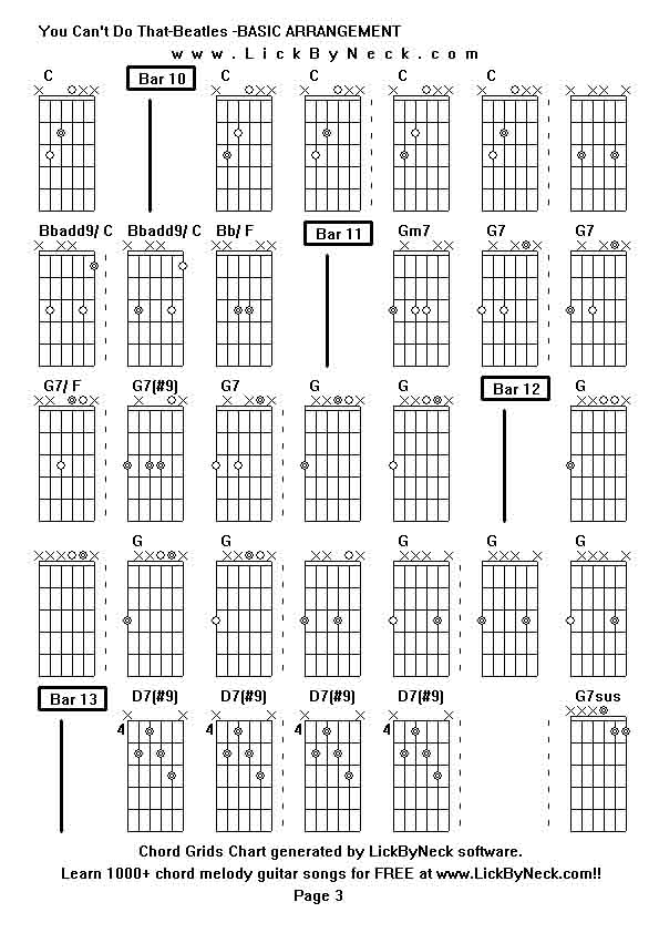 Beatles Guitar Chord Chart