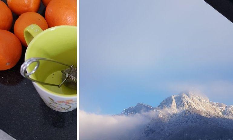 Orangensaft aus #gebana Saftfrüchten und eine Tasse Tee. Ein Blick zu unserem Hausberg. So beginnt mein Tag. Immer.
