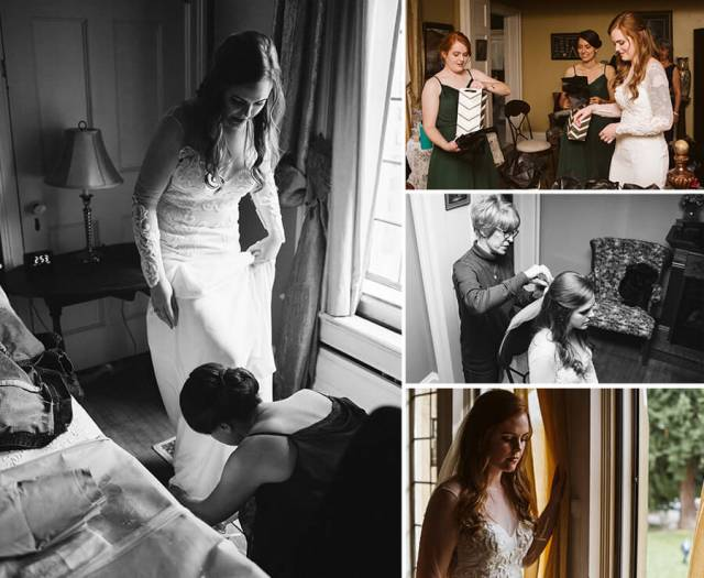 Collage of pictures of the bride getting ready for the wedding.
