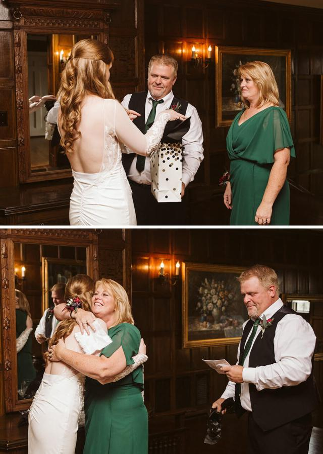 Two pictures of the bride giving gifts to her mother and father at Thornewood Castle