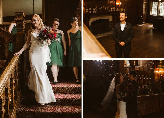 Collage of the bride and groom's first look before the wedding at Thornewood castle