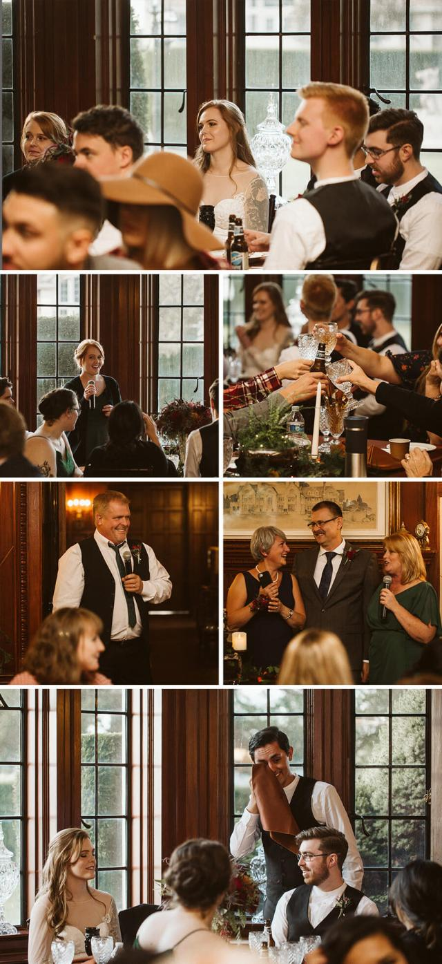Collage of pictures of the wedding reception at Thornewood Castle.