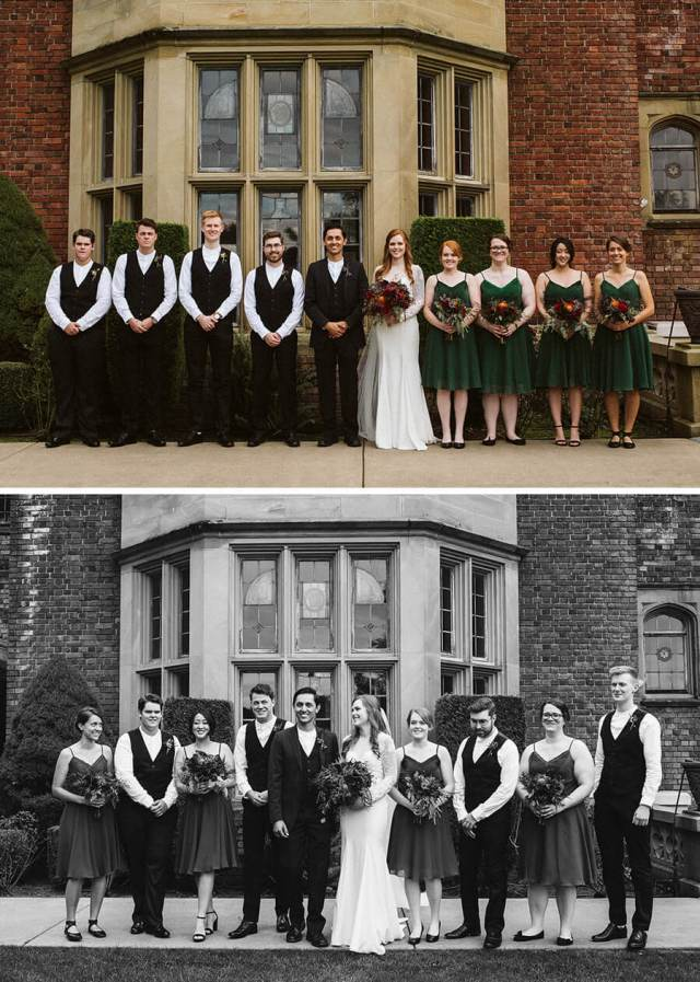 Two pictures of the wedding party in front of Thornewood Castle