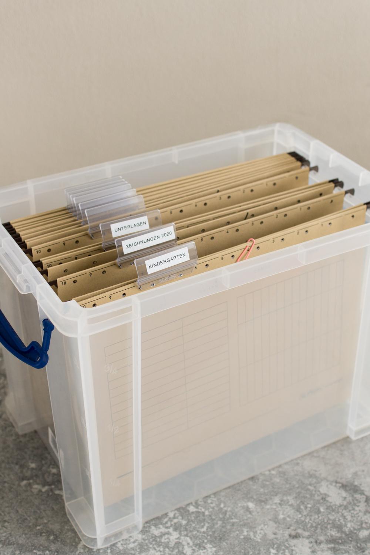 Ordnungsbox für Zeichnungen und Unterlagen | Kindersachen ordnen mit System