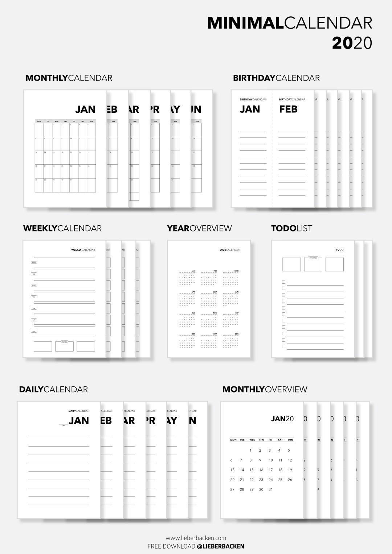 Freebie: Minimal Calendar 2020 | Minimalistischer Kalender ...