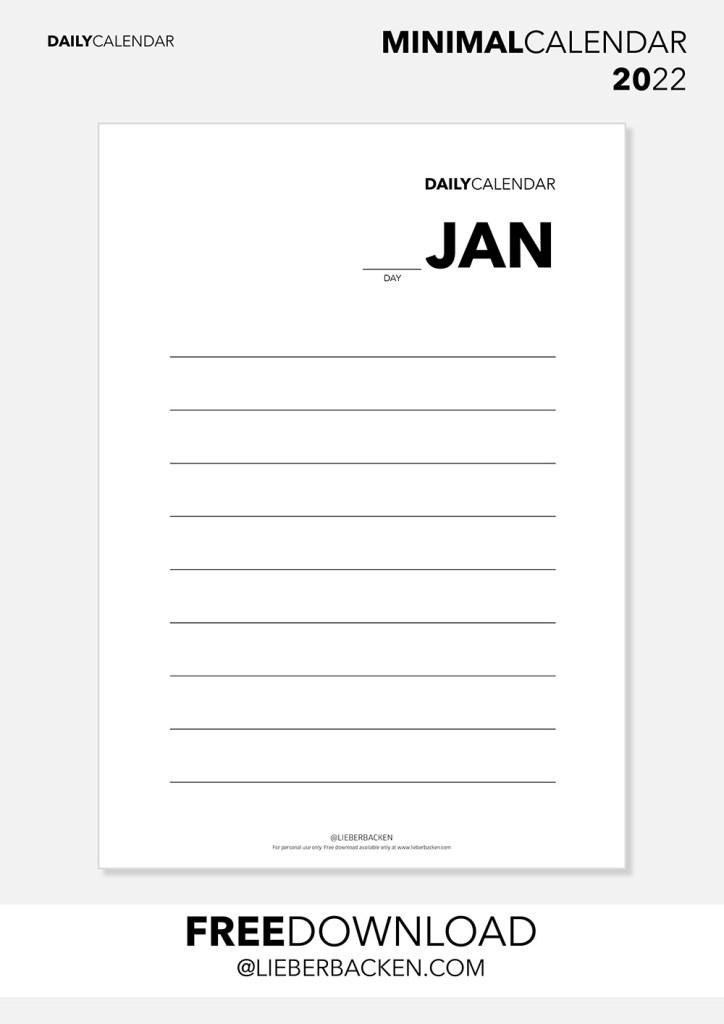 Kalender 2022 - Einzelne Tage, Gratis Download   Daily Overview - Free Download