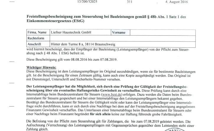 thumbnail of Liefner_Haustechnik_GmbH_Freistellungsbescheinigung