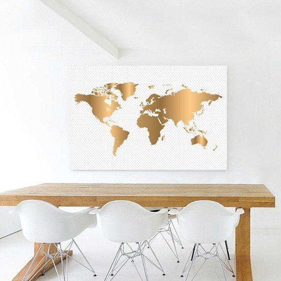 gouden wereldkaart behang