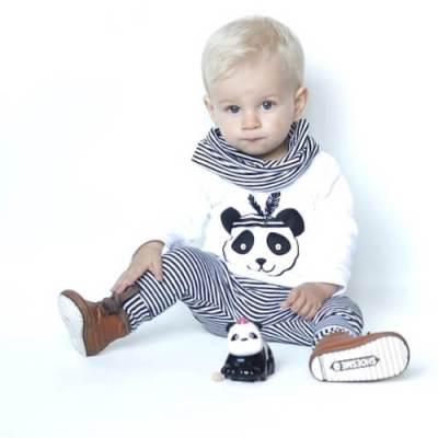 Shirt panda zwart witte babykleding