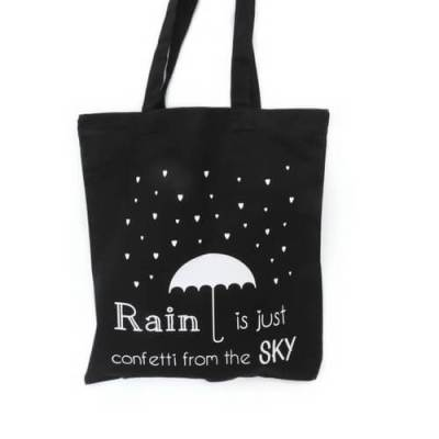 zwarte shopper met tekst Rain is just confetti from the sky