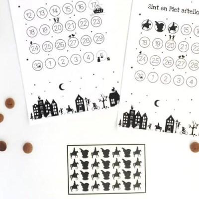 Stickers voor aftelkalender Sint en Piet
