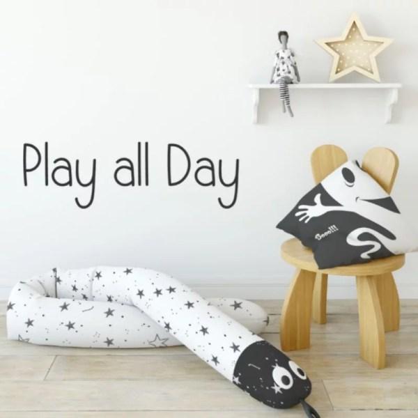 Muursticker speelhoek play all day tekst