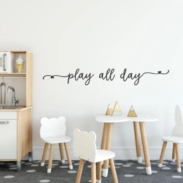 Muursticker tekst speelhoek play all day