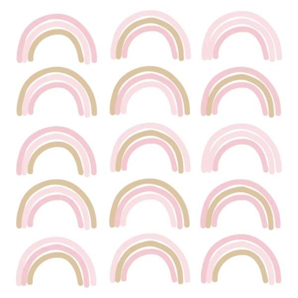 Regenboogjes muursticker roze goud