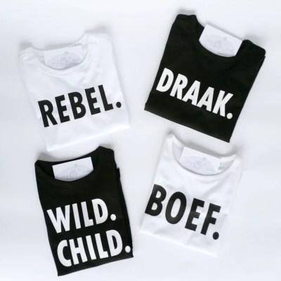 Shirts met tekst naar keuze