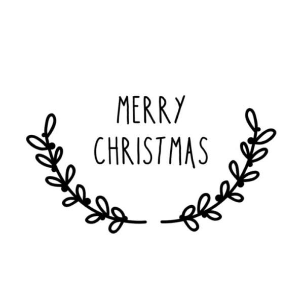 Raamsticker merry christmas met takjes