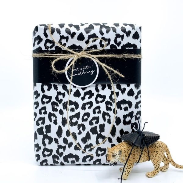 Inpakpapier cheetah zwart wit