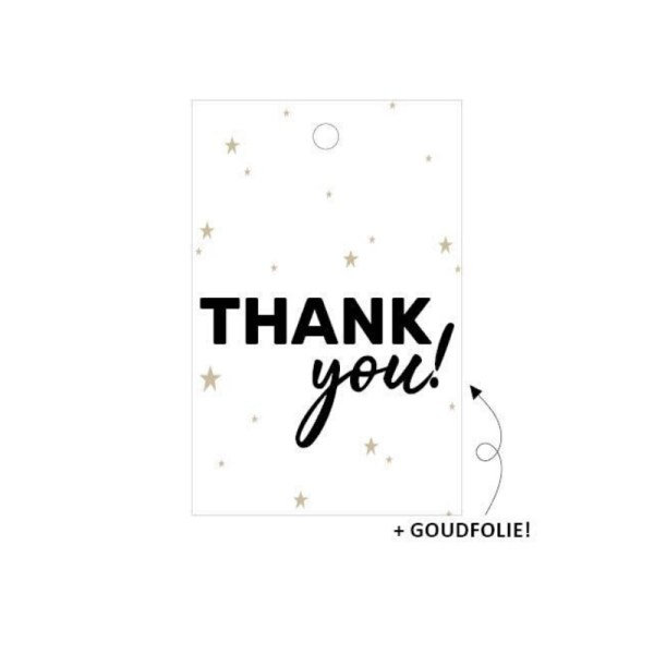 Cadeaulabel thank you goud wit zwart