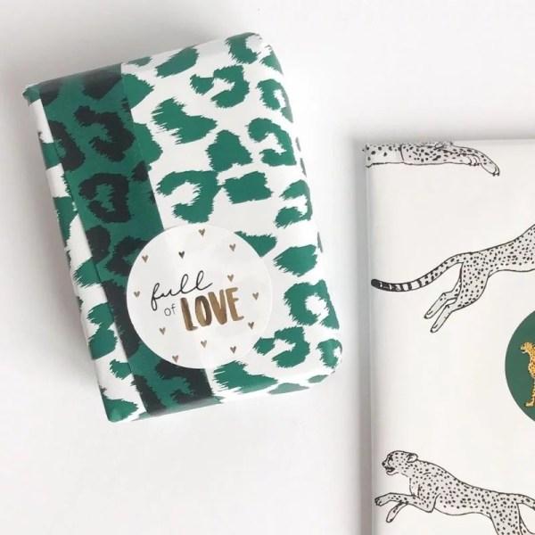 cadeaupapier dierenprint groen
