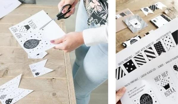 Printable zwart witte cadeaulabels