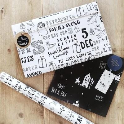 Cadeaupapier Sinterklaas zwart wit