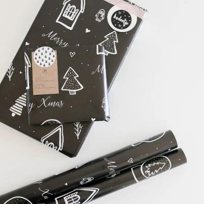 Inpakpapier kerst zwart wit