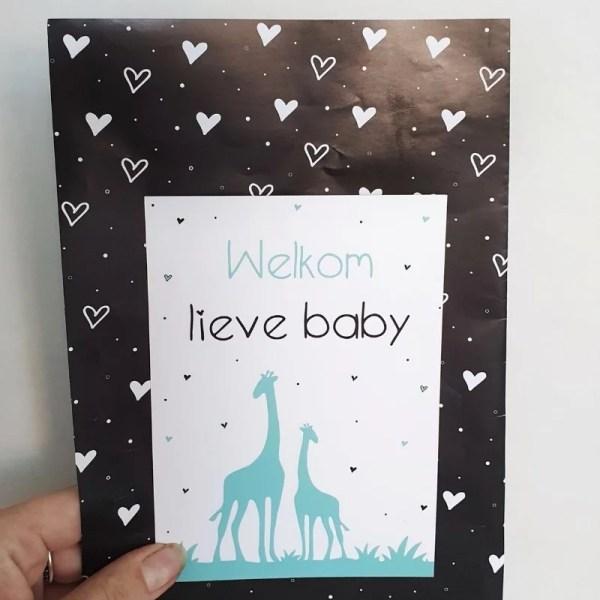 Kaart welkom lieve baby giraffe